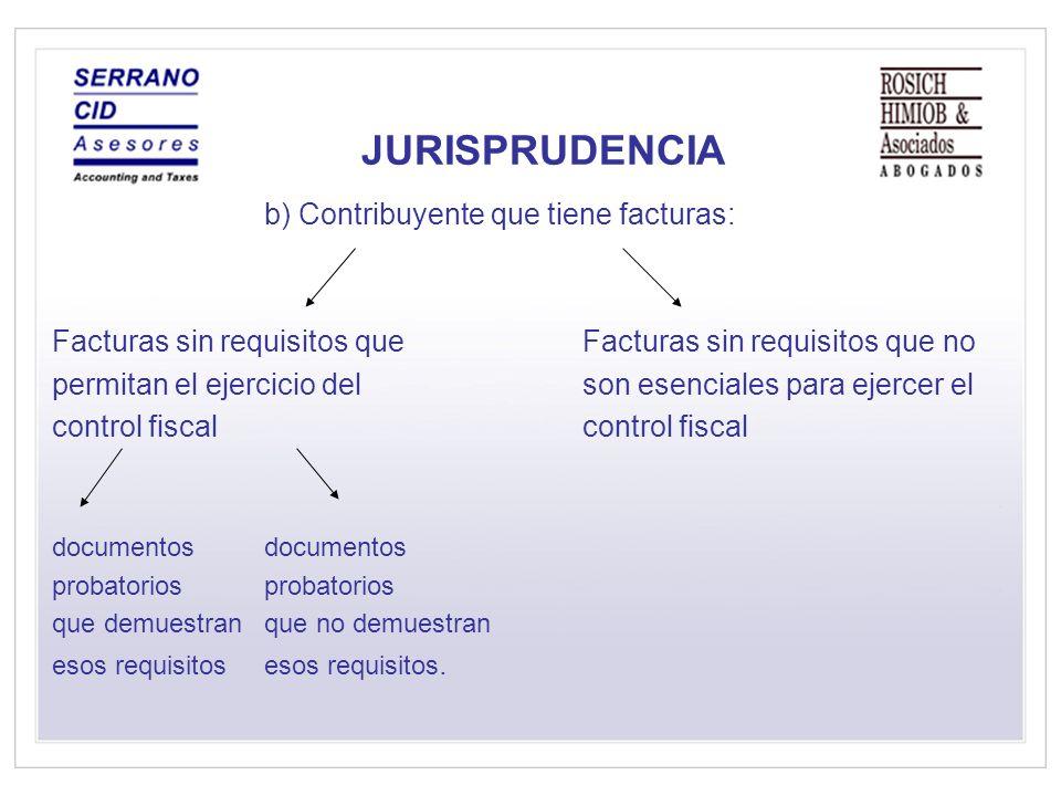 JURISPRUDENCIA b) Contribuyente que tiene facturas: Facturas sin requisitos que Facturas sin requisitos que no permitan el ejercicio del son esenciales para ejercer el control fiscal documentos probatorios que demuestran que no demuestran esos requisitosesos requisitos.
