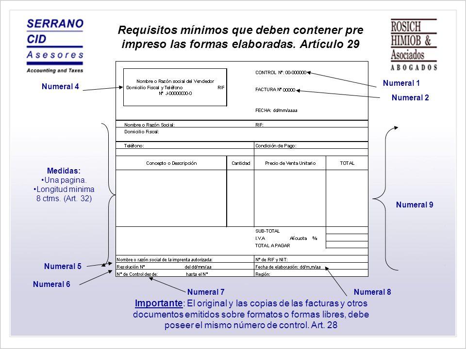 Requisitos mínimos que deben contener pre impreso los formatos elaborados Articulo 30 Numeral 1 Numeral 2 Numeral 3 Numeral 6 Numeral 4 Numeral 5 Medidas: Una pagina.