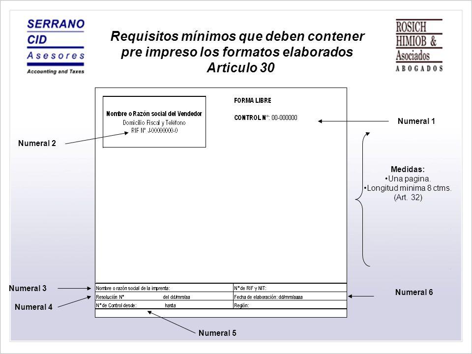 Requisitos Únicos que pueden ser reflejados en el reverso de la Factura.