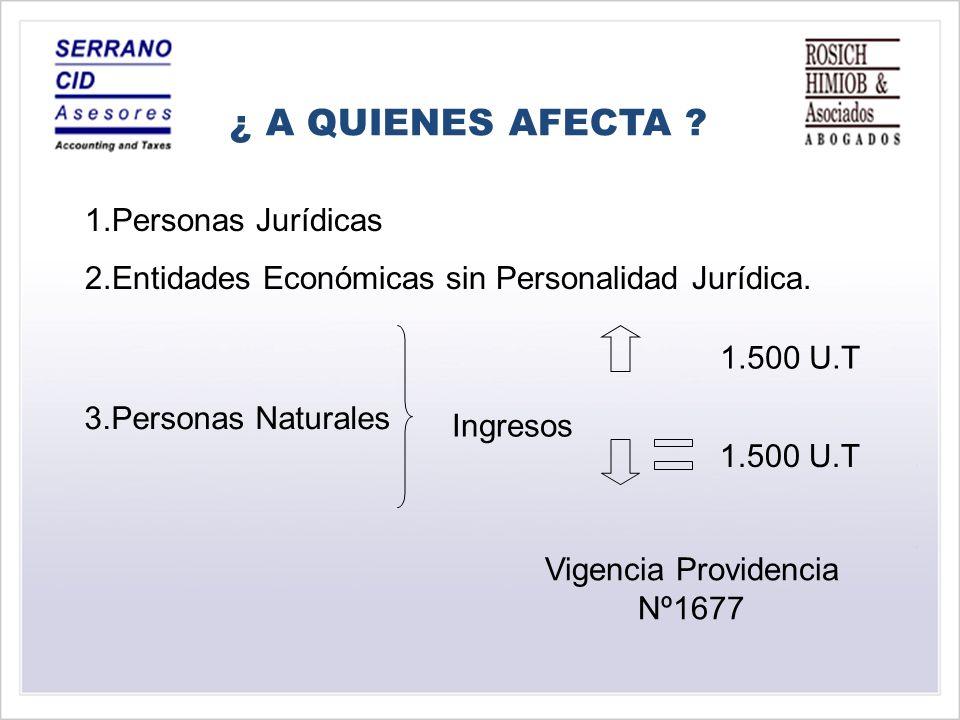 1.Personas Jurídicas 2.Entidades Económicas sin Personalidad Jurídica.