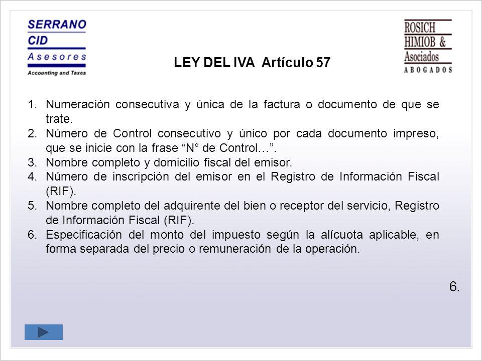 LEY DEL IVA Artículo 57 6.
