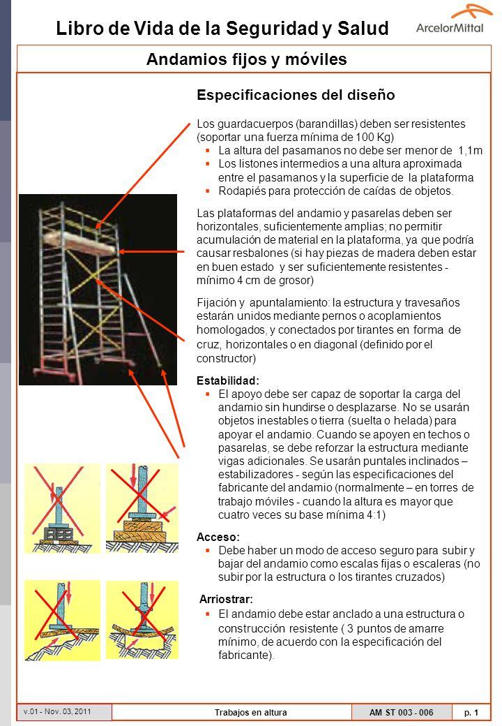 Libro de Vida de la Seguridad y Salud AM ST 003 - 006 p. 1 v.01 - Nov. 03, 2011 Trabajos en altura Especificaciones del diseño Los guardacuerpos (bara