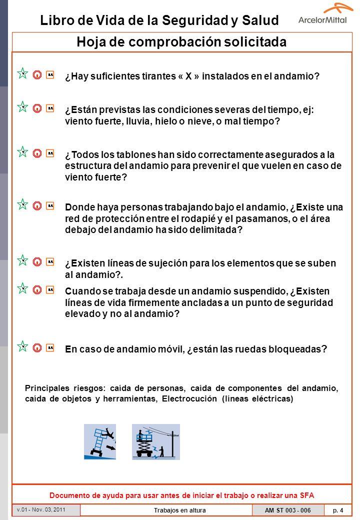 Libro de Vida de la Seguridad y Salud AM ST 003 - 006 p. 4 v.01 - Nov. 03, 2011 Trabajos en altura Hoja de comprobación solicitada ¿Hay suficientes ti
