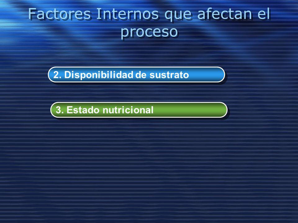 Factores Internos que afectan el proceso 2. Disponibilidad de sustrato 3. Estado nutricional