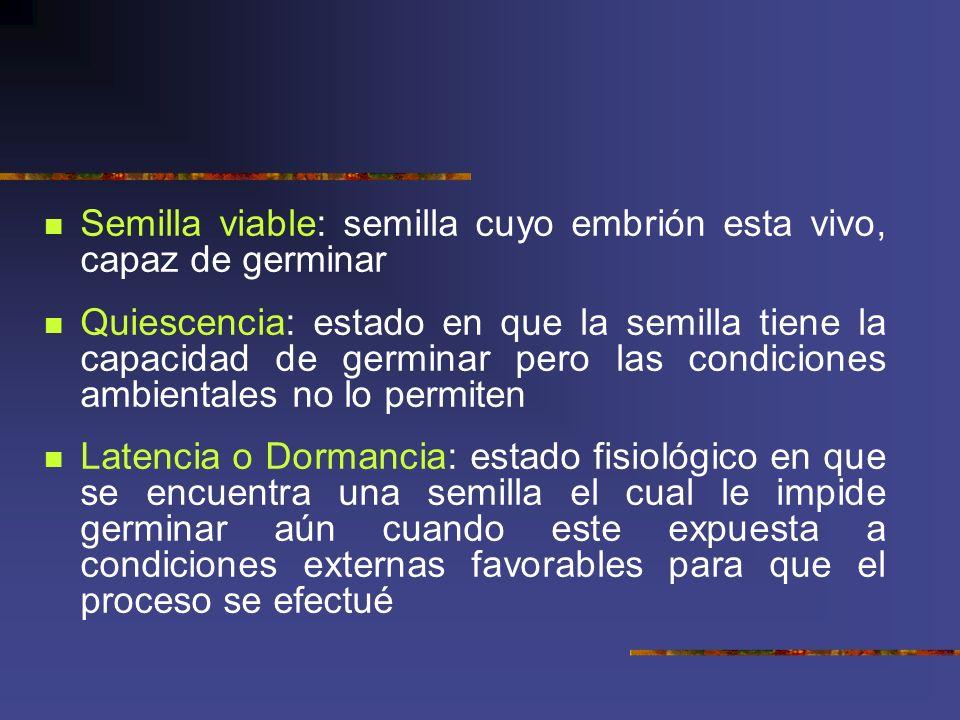Semilla viable: semilla cuyo embrión esta vivo, capaz de germinar Quiescencia: estado en que la semilla tiene la capacidad de germinar pero las condic