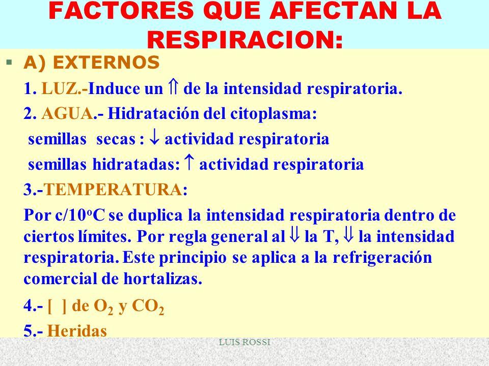 LUIS ROSSI FACTORES QUE AFECTAN LA RESPIRACION: A) EXTERNOS 1. LUZ.-Induce un de la intensidad respiratoria. 2. AGUA.- Hidratación del citoplasma: sem