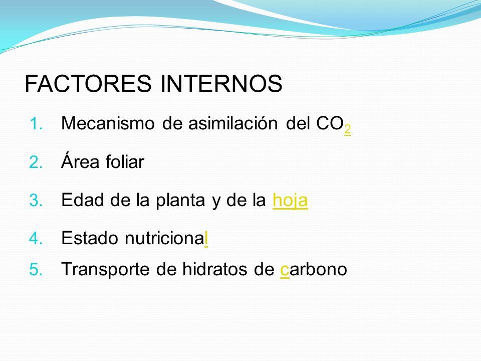 FACTORES INTERNOS 1.Mecanismo de asimilación del CO 2 2 2.