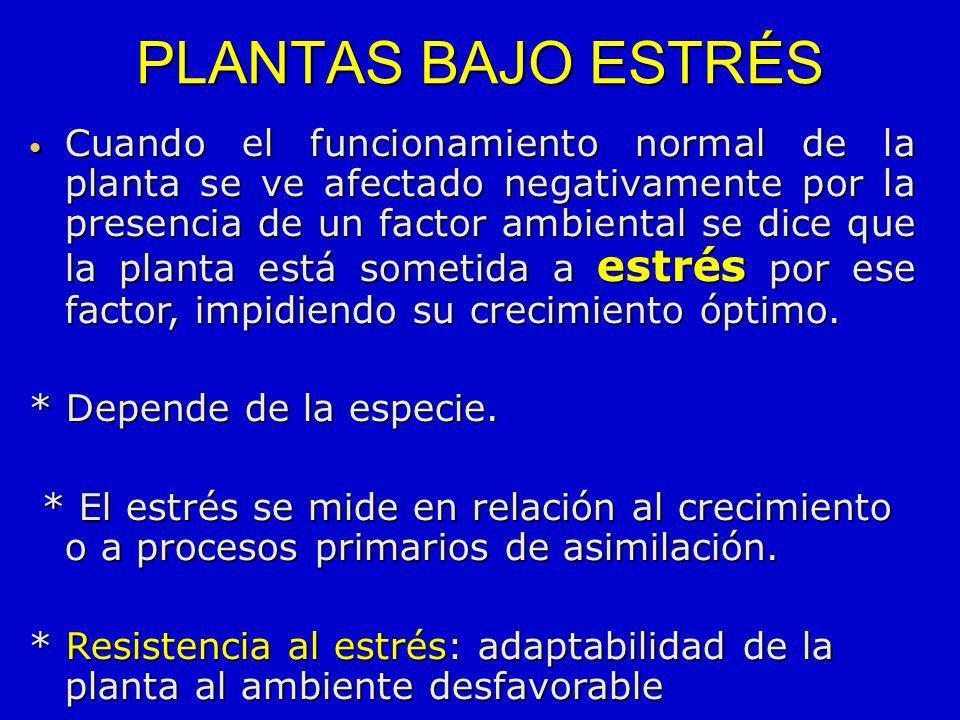PLANTAS BAJO ESTRÉS Cuando el funcionamiento normal de la planta se ve afectado negativamente por la presencia de un factor ambiental se dice que la p