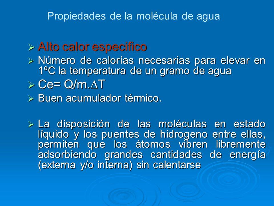 Alto calor especifico Alto calor especifico Número de calorías necesarias para elevar en 1ºC la temperatura de un gramo de agua Número de calorías nec