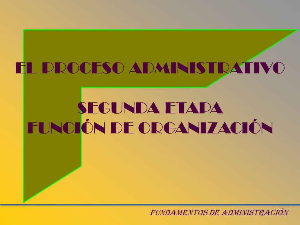 EL PROCESO ADMINISTRATIVO SEGUNDA ETAPA FUNCIÓN DE ORGANIZACIÓN FUNDAMENTOS DE ADMINISTRACIÓN