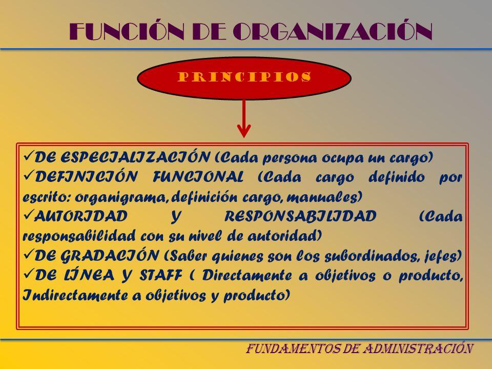 FUNCIÓN DE ORGANIZACIÓN FUNDAMENTOS DE ADMINISTRACIÓN PRINCIPIOS DE ESPECIALIZACIÓN (Cada persona ocupa un cargo) DEFINICIÓN FUNCIONAL (Cada cargo def