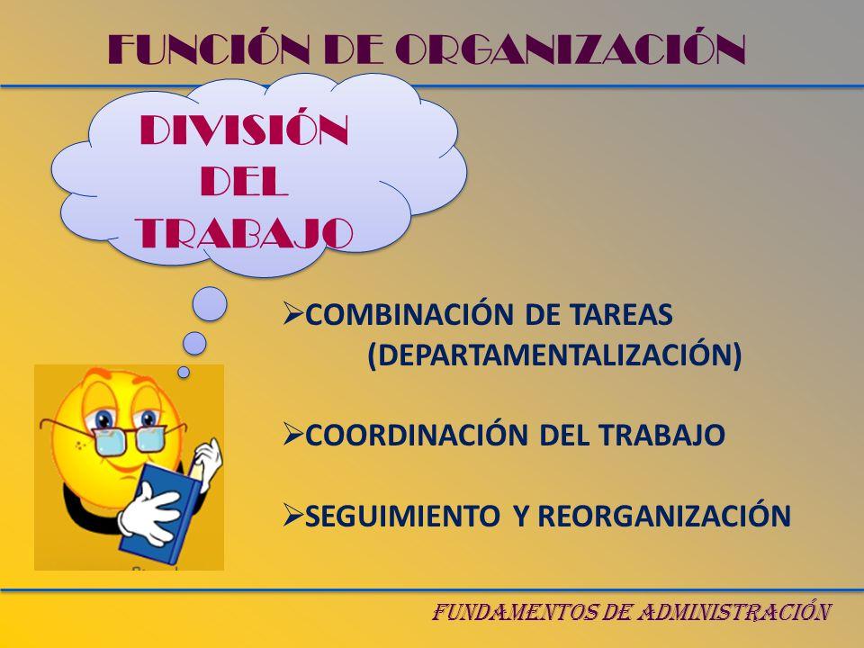 FUNDAMENTOS DE ADMINISTRACIÓN DIVISIÓN DEL TRABAJO FUNCIÓN DE ORGANIZACIÓN COMBINACIÓN DE TAREAS (DEPARTAMENTALIZACIÓN) COORDINACIÓN DEL TRABAJO SEGUI
