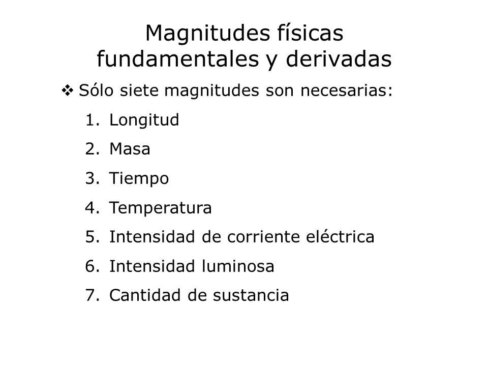 Magnitudes físicas fundamentales y derivadas Sólo siete magnitudes son necesarias: 1.Longitud 2.Masa 3.Tiempo 4.Temperatura 5.Intensidad de corriente