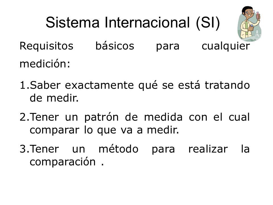 Sistema Internacional (SI) Requisitos básicos para cualquier medición: 1.Saber exactamente qué se está tratando de medir. 2.Tener un patrón de medida