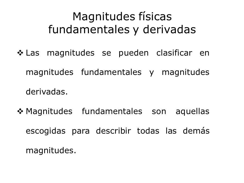 Magnitudes físicas fundamentales y derivadas Las magnitudes se pueden clasificar en magnitudes fundamentales y magnitudes derivadas. Magnitudes fundam