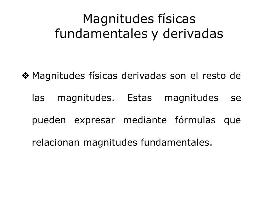 Magnitudes físicas fundamentales y derivadas Magnitudes físicas derivadas son el resto de las magnitudes. Estas magnitudes se pueden expresar mediante