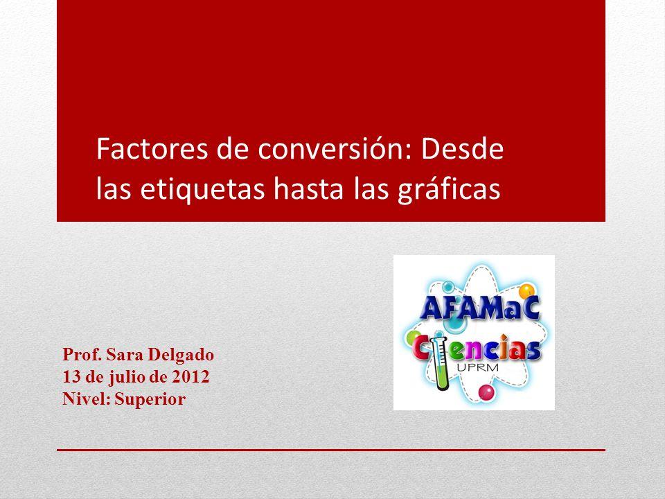 Factores de conversión: Desde las etiquetas hasta las gráficas Prof. Sara Delgado 13 de julio de 2012 Nivel: Superior