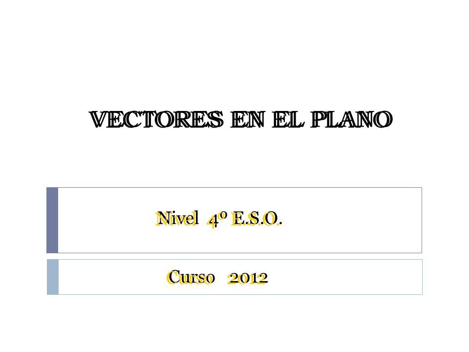 VECTORES EN EL PLANO Curso 2012 Nivel 4º E.S.O.