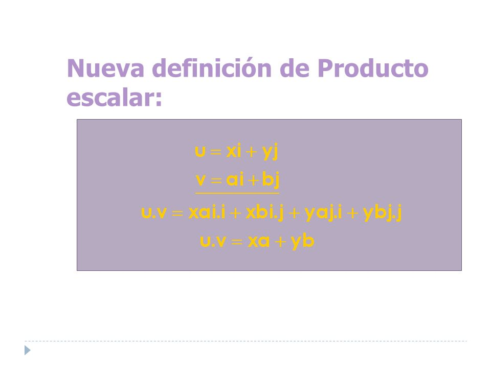 Nueva definición de Producto escalar: