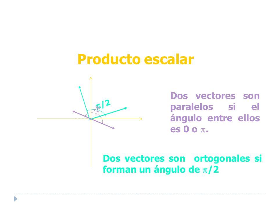 Dos vectores son paralelos si el ángulo entre ellos es 0 o.