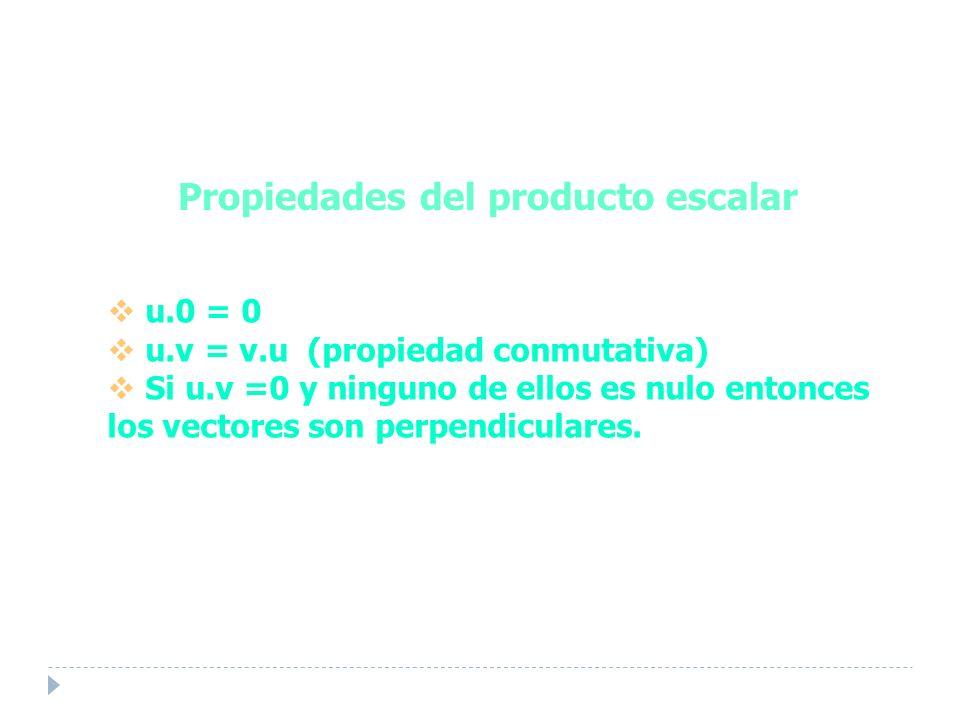 Propiedades del producto escalar u.0 = 0 u.v = v.u (propiedad conmutativa) Si u.v =0 y ninguno de ellos es nulo entonces los vectores son perpendiculares.