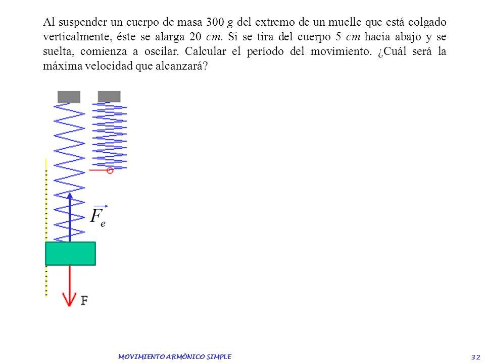 MOVIMIENTO ARMÓNICO SIMPLE 31 Se hace oscilar verticalmente un cuerpo de masa 80 g que está colgado de un muelle en hélice de constante elástica 2 N/m
