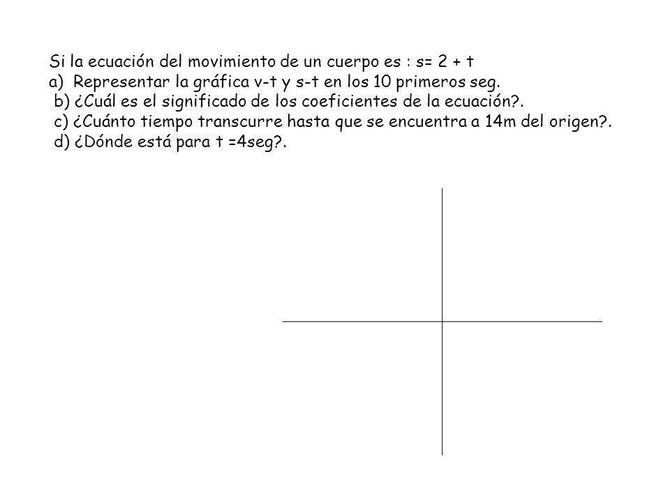 Si la ecuación del movimiento de un cuerpo es : s= 2 + t a) Representar la gráfica v-t y s-t en los 10 primeros seg. b) ¿Cuál es el significado de los