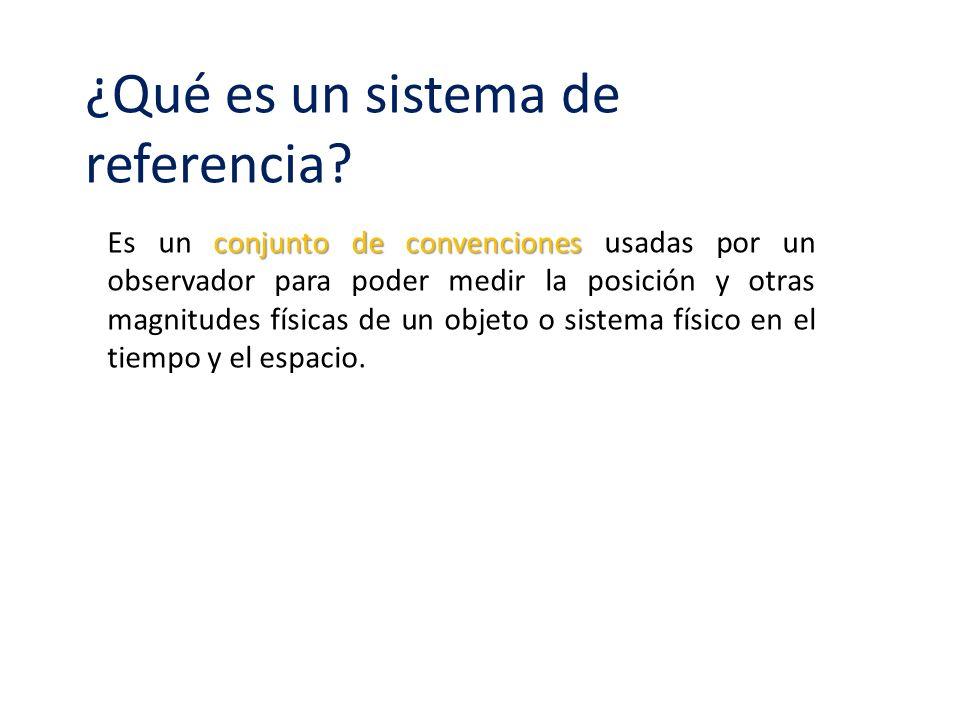 ¿Qué es un sistema de referencia? conjunto de convenciones Es un conjunto de convenciones usadas por un observador para poder medir la posición y otra