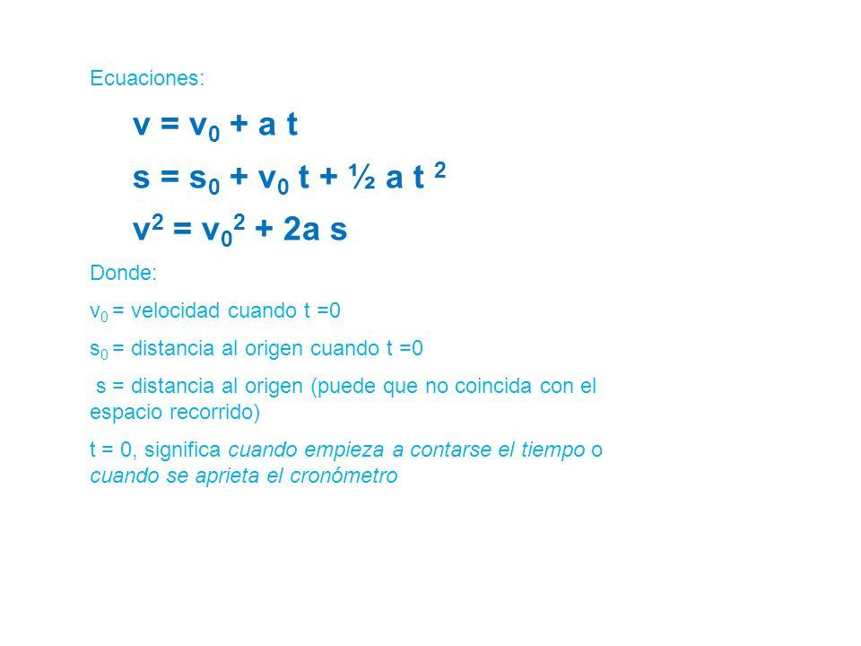 Ecuaciones: v = v 0 + a t s = s 0 + v 0 t + ½ a t 2 v 2 = v 0 2 + 2a s Donde: v 0 = velocidad cuando t =0 s 0 = distancia al origen cuando t =0 s = di