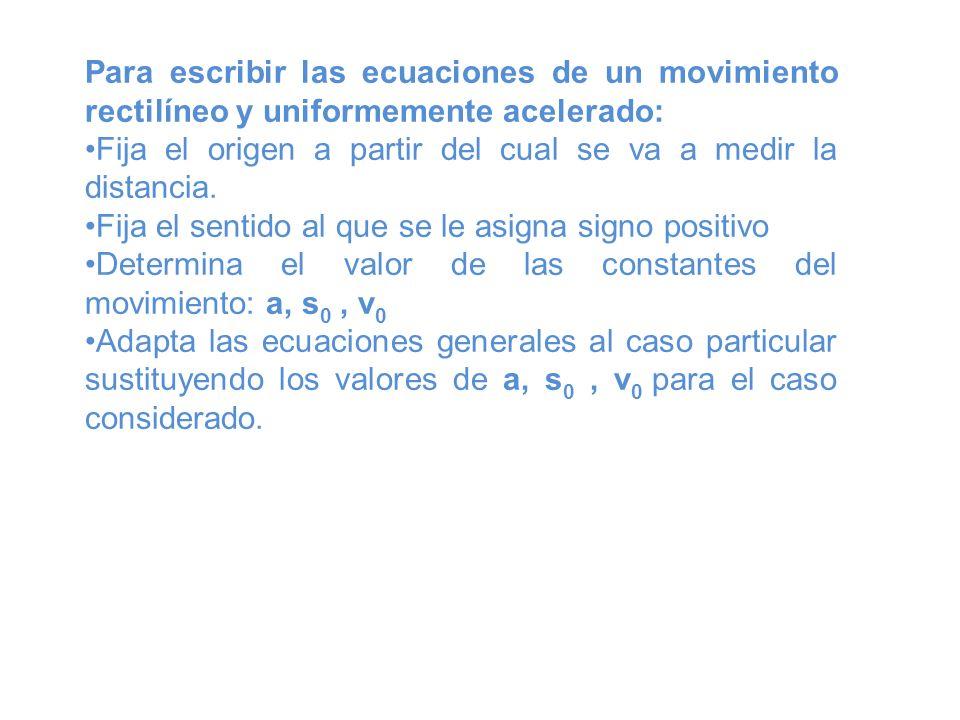 Para escribir las ecuaciones de un movimiento rectilíneo y uniformemente acelerado: Fija el origen a partir del cual se va a medir la distancia. Fija