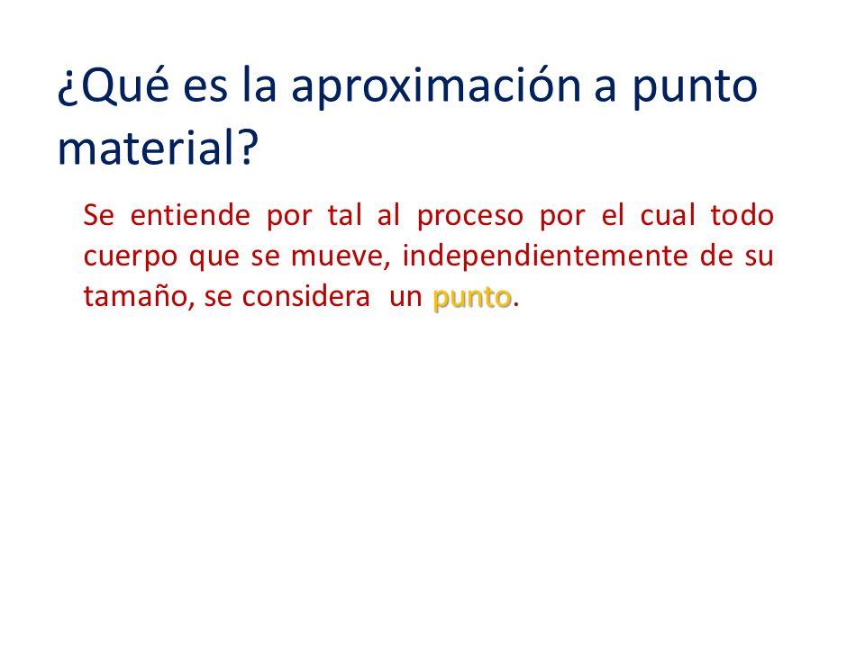 ¿Qué es la aproximación a punto material? punto Se entiende por tal al proceso por el cual todo cuerpo que se mueve, independientemente de su tamaño,