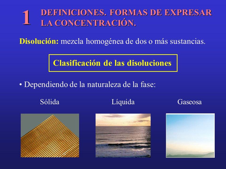 DEFINICIONES. FORMAS DE EXPRESAR LA CONCENTRACIÓN. 1 Disolución: mezcla homogénea de dos o más sustancias. Clasificación de las disoluciones Dependien
