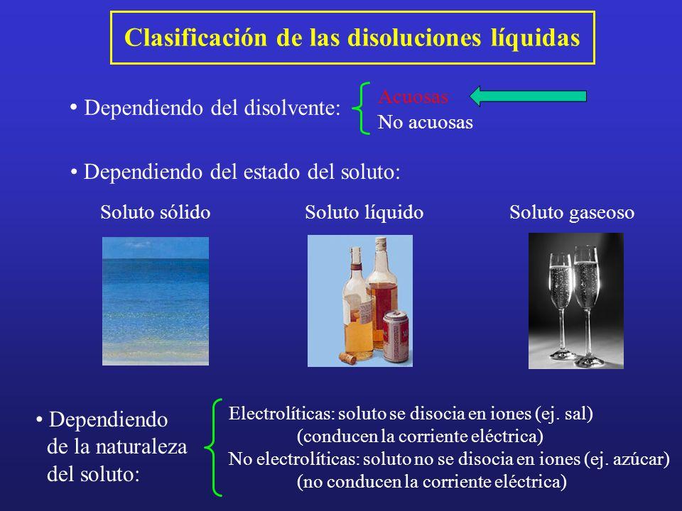 Clasificación de las disoluciones líquidas Dependiendo del estado del soluto: Soluto sólidoSoluto líquidoSoluto gaseoso Dependiendo del disolvente: Ac