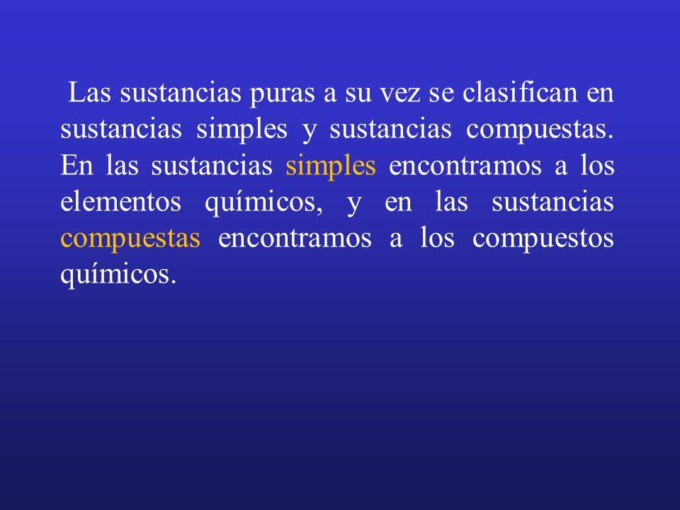 Las sustancias puras a su vez se clasifican en sustancias simples y sustancias compuestas. En las sustancias simples encontramos a los elementos quími