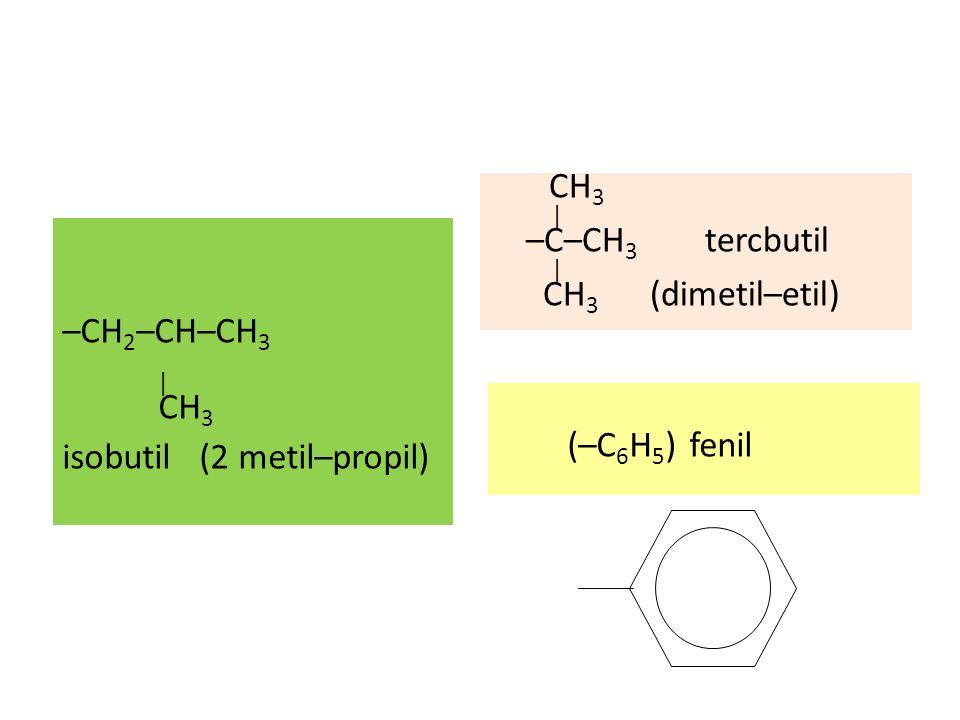 –CH 2 –CH–CH 3 | CH 3 isobutil (2 metil–propil) CH 3 | –C–CH 3 tercbutil | CH 3 (dimetil–etil) (–C 6 H 5 )fenil