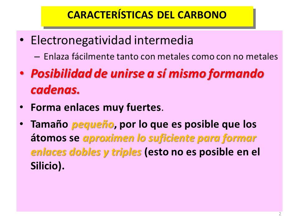 2 CARACTERÍSTICAS DEL CARBONO Electronegatividad intermedia – Enlaza fácilmente tanto con metales como con no metales Posibilidad de unirse a sí mismo