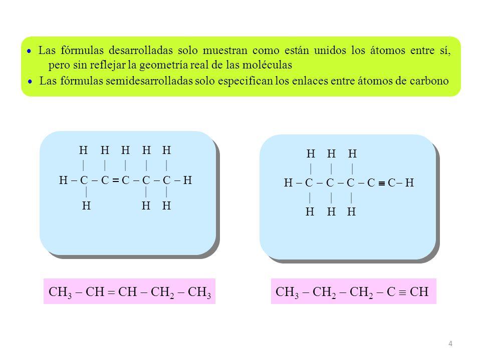 4 H C C C C C H H|H| H|H| H|H| H|H| H|H| |H|H |H|H |H|H Las fórmulas desarrolladas solo muestran como están unidos los átomos entre sí, pero sin refle