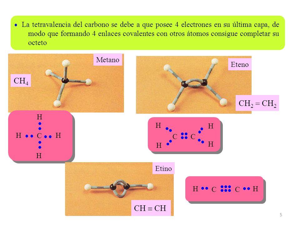 5 La tetravalencia del carbono se debe a que posee 4 electrones en su última capa, de modo que formando 4 enlaces covalentes con otros átomos consigue