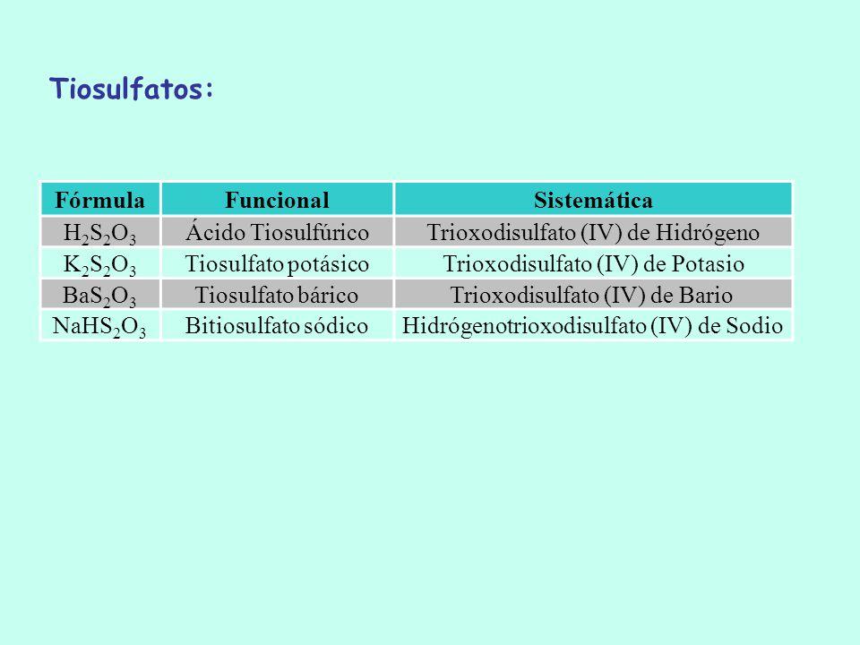 FórmulaFuncionalSistemática H2S2O3H2S2O3 Ácido TiosulfúricoTrioxodisulfato (IV) de Hidrógeno K2S2O3K2S2O3 Tiosulfato potásicoTrioxodisulfato (IV) de P