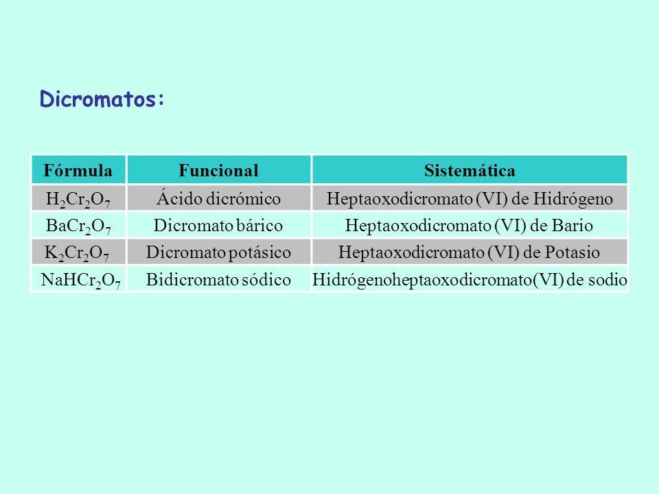 FórmulaFuncionalSistemática H 2 Cr 2 O 7 Ácido dicrómicoHeptaoxodicromato (VI) de Hidrógeno BaCr 2 O 7 Dicromato báricoHeptaoxodicromato (VI) de Bario