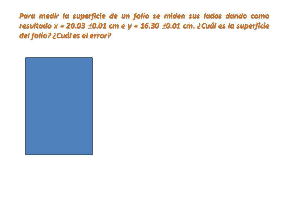 Para medir la superficie de un folio se miden sus lados dando como resultado x = 20.03 0.01 cm e y = 16.30 0.01 cm. ¿Cuál es la superficie del folio?