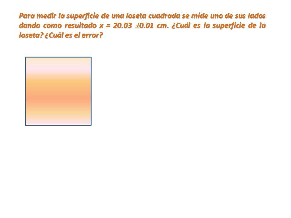 Para medir la superficie de una loseta cuadrada se mide uno de sus lados dando como resultado x = 20.03 0.01 cm. ¿Cuál es la superficie de la loseta?