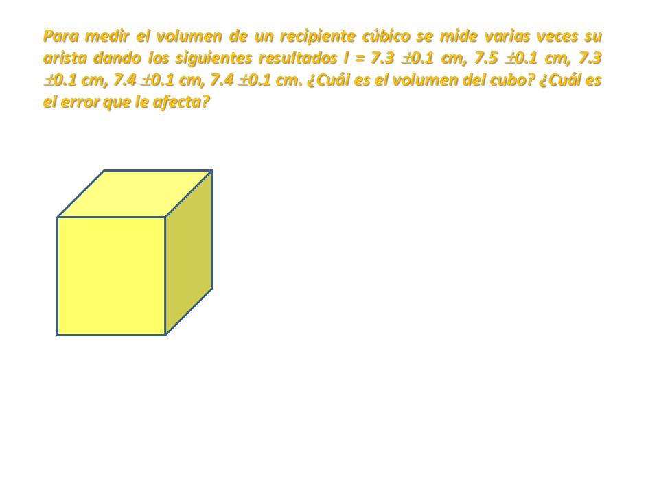 Para medir el volumen de un recipiente cúbico se mide varias veces su arista dando los siguientes resultados l = 7.3 0.1 cm, 7.5 0.1 cm, 7.3 0.1 cm, 7