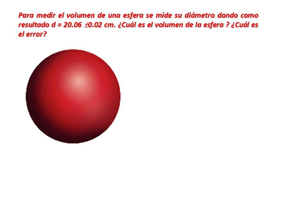 Para medir el volumen de una esfera se mide su diámetro dando como resultado d = 20.06 0.02 cm. ¿Cuál es el volumen de la esfera ? ¿Cuál es el error?