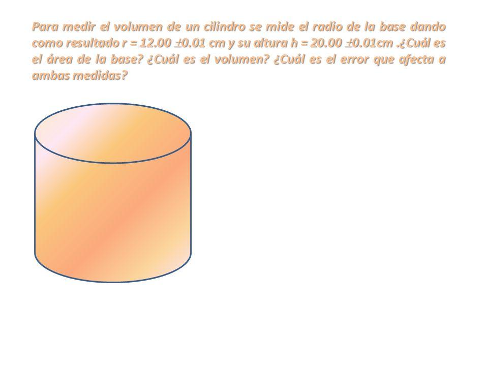 Para medir el volumen de un cilindro se mide el radio de la base dando como resultado r = 12.00 0.01 cm y su altura h = 20.00 0.01cm.¿Cuál es el área