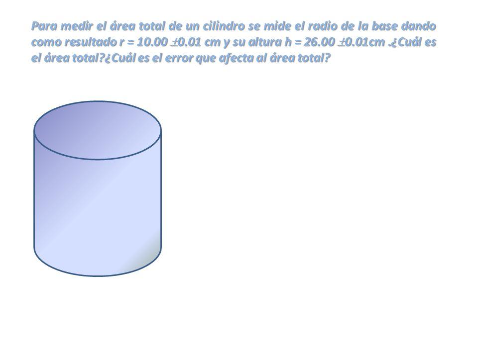 Para medir el área total de un cilindro se mide el radio de la base dando como resultado r = 10.00 0.01 cm y su altura h = 26.00 0.01cm.¿Cuál es el ár