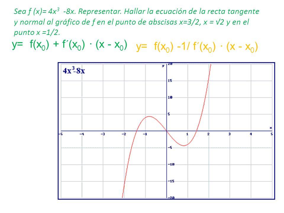 Sea f (x)= 4x 3 -8x. Representar. Hallar la ecuación de la recta tangente y normal al gráfico de f en el punto de abscisas x=3/2, x = 2 y en el punto