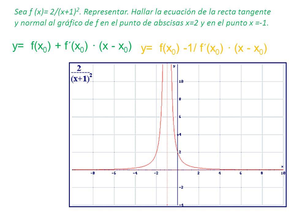 Sea f (x)= 2/(x+1) 2. Representar. Hallar la ecuación de la recta tangente y normal al gráfico de f en el punto de abscisas x=2 y en el punto x =-1. y