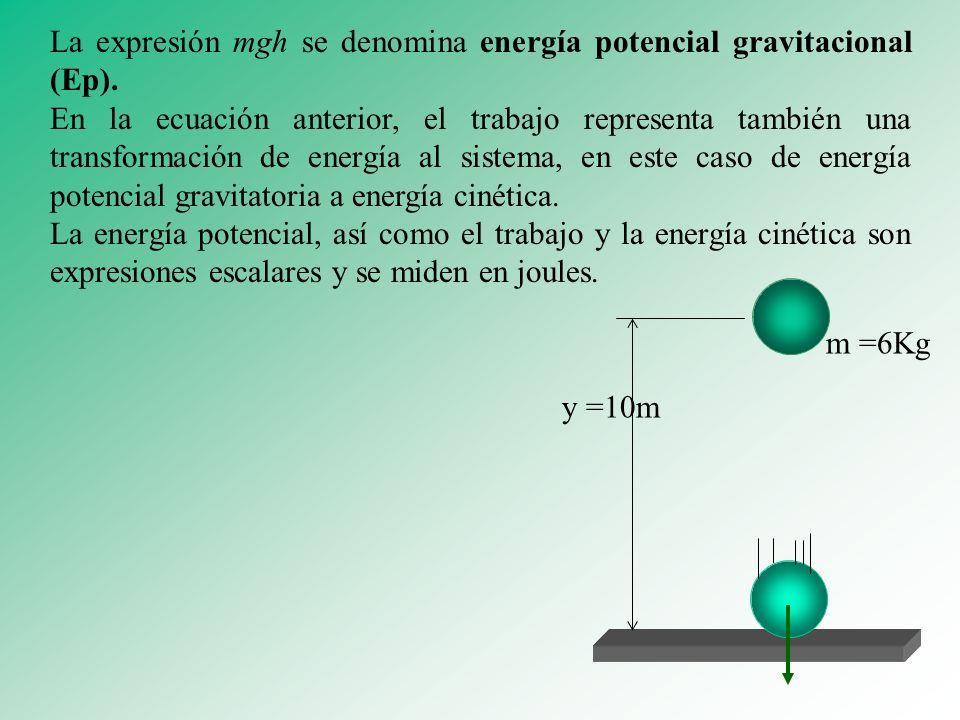 La expresión mgh se denomina energía potencial gravitacional (Ep). En la ecuación anterior, el trabajo representa también una transformación de energí