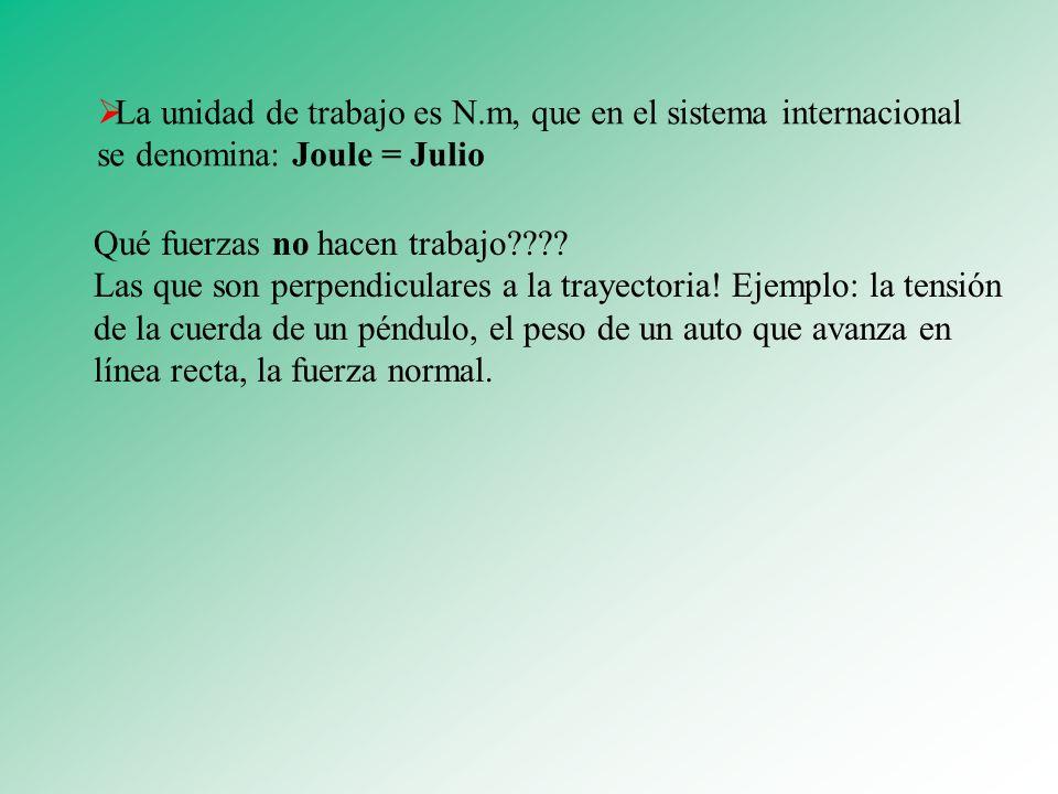 La unidad de trabajo es N.m, que en el sistema internacional se denomina: Joule = Julio Qué fuerzas no hacen trabajo???? Las que son perpendiculares a
